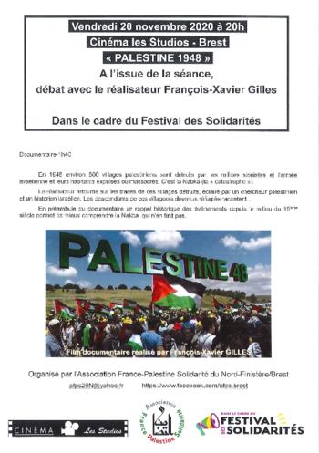"""vendredi 20/11/2020 à 20H : projection """"PALESTINE 1948"""" à l 'issue de la séance débat avec François-Xavier Gilles, réalisateur."""