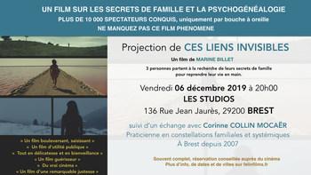 """vendredi 06/12 à 20H : projection """" CES LIENS INVISIBLES"""" séance suivie d'un échange avec Corinne Collin Mocaër, Praticienne en constellations familiales et systémiques."""