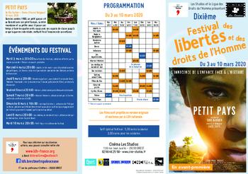du 3 au 10 mars 2020 : 10è Festival des Libertés et des Droits de l'Homme.