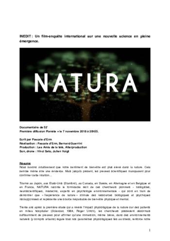 """jeudi 28/11 à 20H : projection """"NATURA"""" en présence de Pascale d'ERM, réalisatrice."""