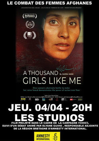 "jeudi 04/04 à 20H : projection ""A thousand girls like me"" à l'issue de la séance discusion."