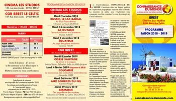 CONNAISSANCE DU MONDE : programme 2018/2019