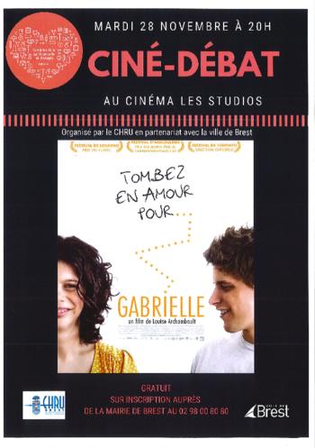 """mardi 28/11 à 20H : projection """"GABRIELLE"""" ciné/débat organisé par le CHRU en partenariat avec la ville de Brest."""