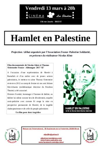 """vendredi 13/03 à 20H : projection """"HAMLET EN PALESTINE"""" à l'issue de la séance débat en présence de Nicoloas KLOTZ, réalisateur."""