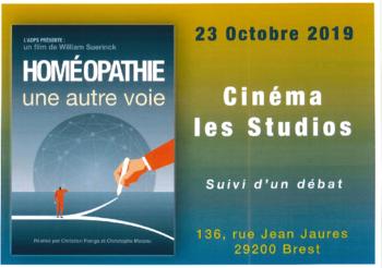 """mercredi 23/10 à 20H : projection """"HOMEOPAHTIE"""" séance suivie d'un débat."""