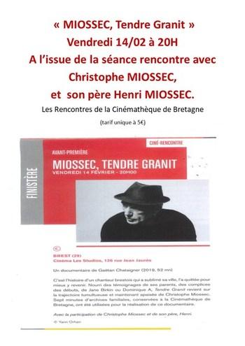 """vendredi 14/02 à 20H : projection """"MIOSSEC, Tendre Granit"""" à l'issue de la séance rencontre avec Christophe MIOSSEC et son père Henri MIOSSEC."""